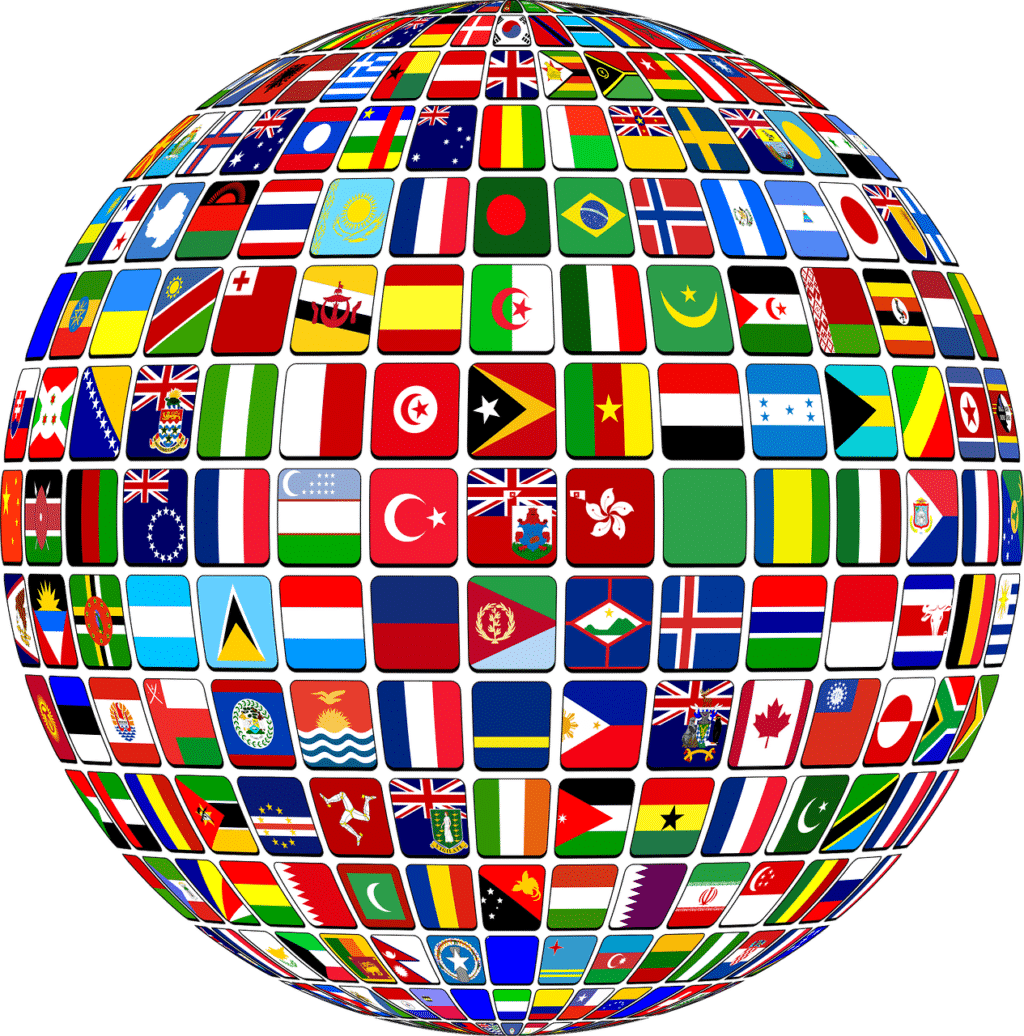 A globe filled with various country flags