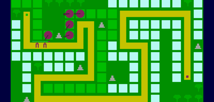 An image of the current prototype of our Tower Defence Game, with placeholder sprites