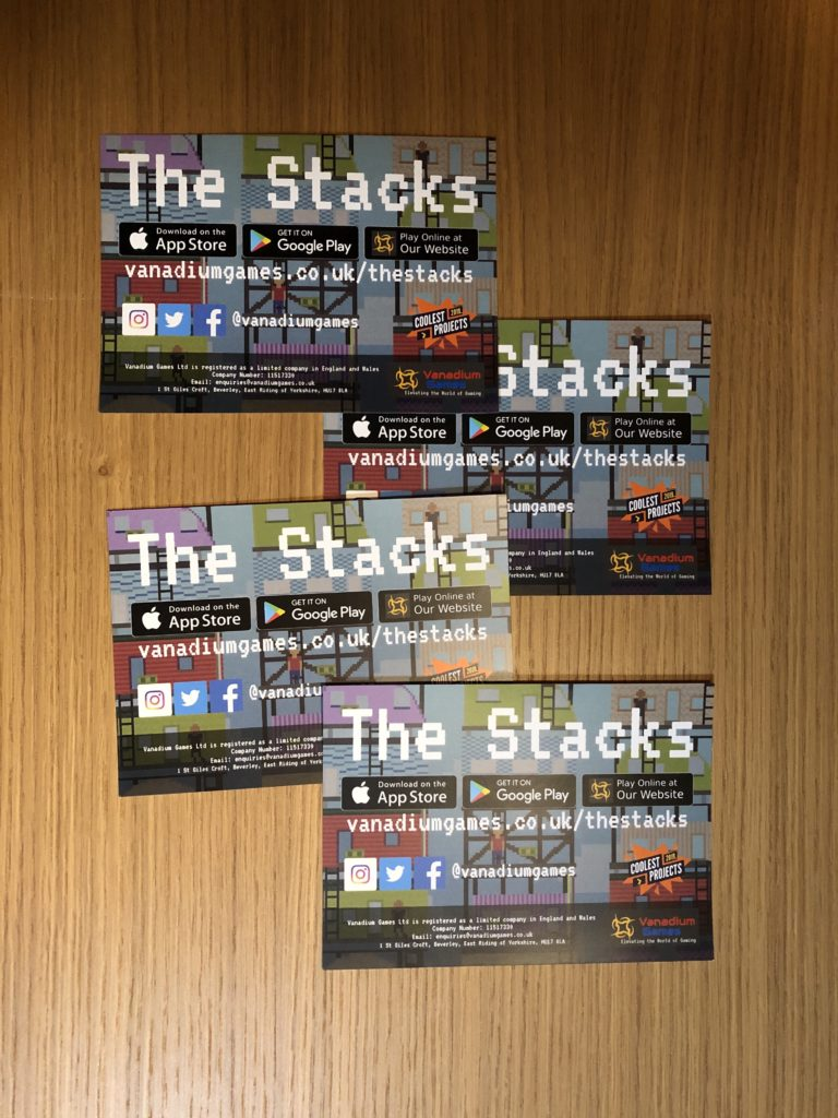An image of 4 A6 leaflets advertising The Stacks