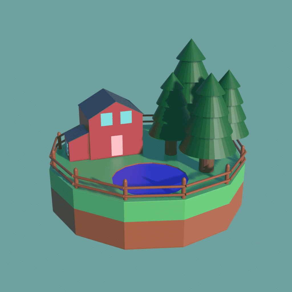 An image of one of the 3D models that I've made - a small, floating island