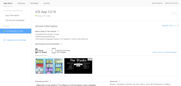 An image of the App Store Developer screen showing version 1.0.14 of The Stacks