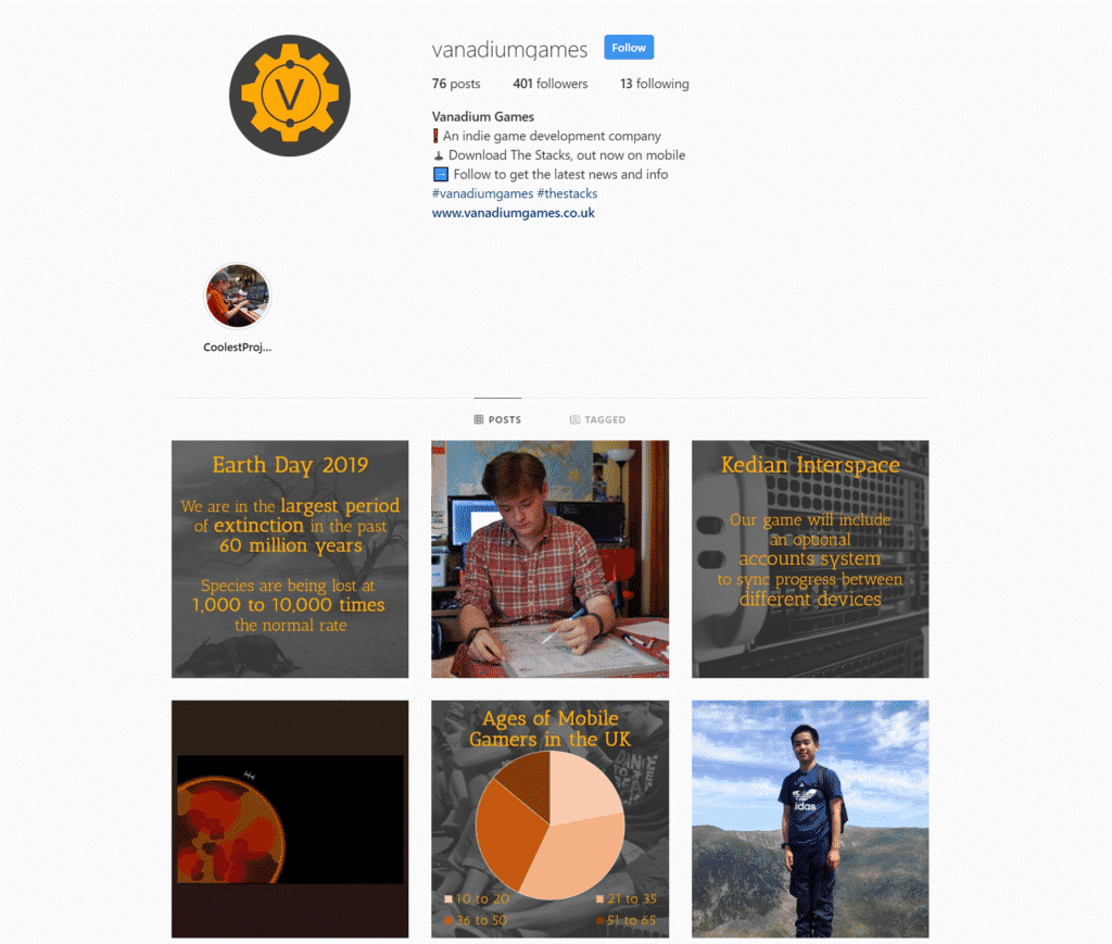 An image of our Instagram account